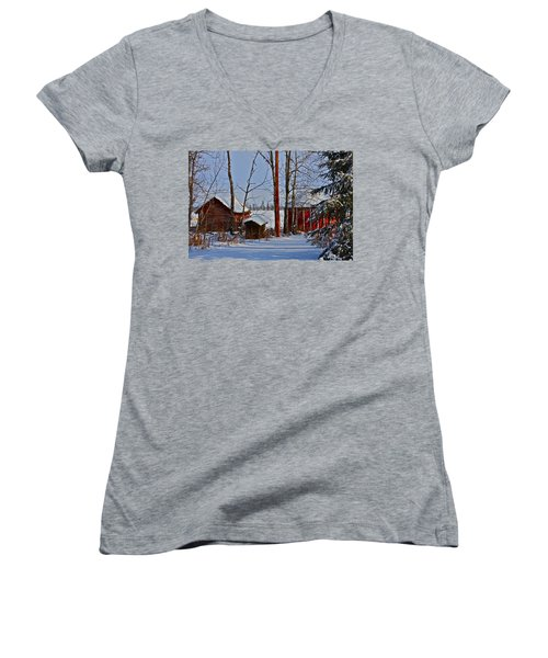 Three Little Houses Women's V-Neck (Athletic Fit)