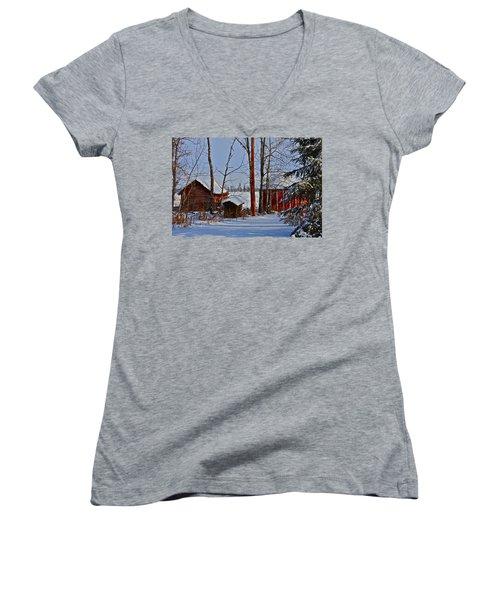 Three Little Houses Women's V-Neck T-Shirt (Junior Cut) by Johanna Bruwer