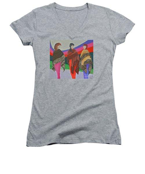 Three Women Women's V-Neck T-Shirt (Junior Cut) by Judith Espinoza