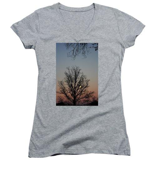 Through The Boughs Portrait Women's V-Neck T-Shirt (Junior Cut) by Dan Stone