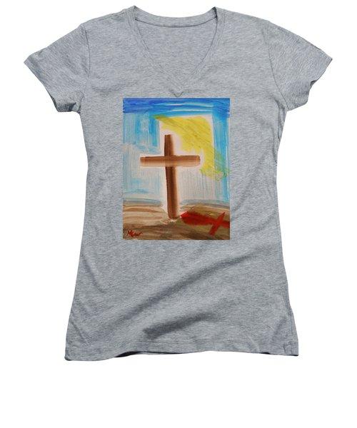 Tim Tebow's Cross-easter Monday Women's V-Neck T-Shirt