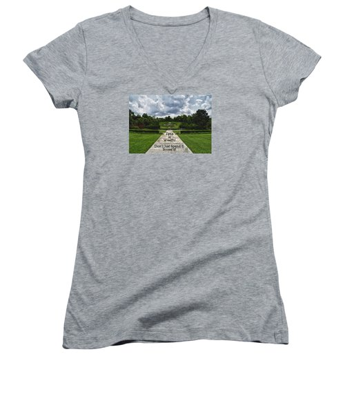 Women's V-Neck T-Shirt (Junior Cut) featuring the photograph Time Is Wealth by Barbara Middleton