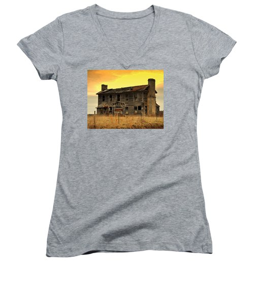 Women's V-Neck T-Shirt (Junior Cut) featuring the photograph Times Past by Marty Koch