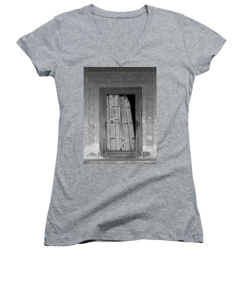 Women's V-Neck T-Shirt (Junior Cut) featuring the photograph Tomb Door by David Pantuso