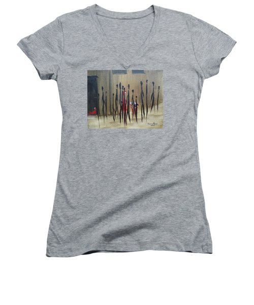 Too Busy To Notice Women's V-Neck T-Shirt (Junior Cut) by Judith Rhue