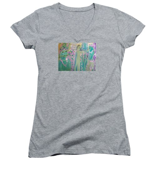 Topiary Easter Women's V-Neck T-Shirt (Junior Cut) by Judith Desrosiers