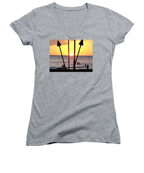 Torched Sunset Women's V-Neck (Athletic Fit)