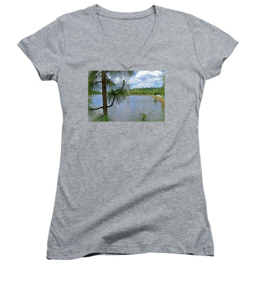 Tower Thru The Pine Women's V-Neck T-Shirt (Junior Cut) by Larry Bishop