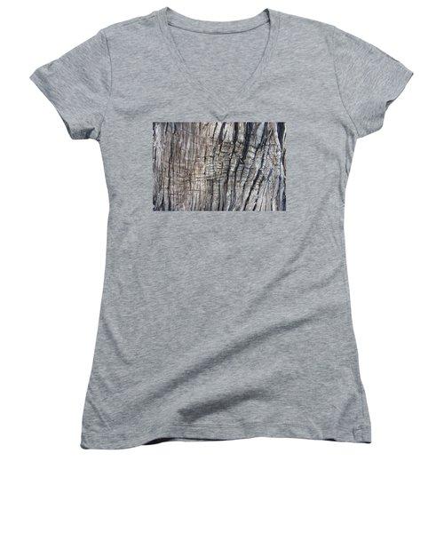 Women's V-Neck T-Shirt (Junior Cut) featuring the photograph Tree Bark No. 1 Stress Lines by Lynn Palmer