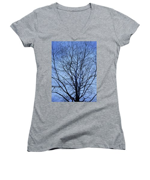 Women's V-Neck featuring the painting Tree In Winter by Andrew King