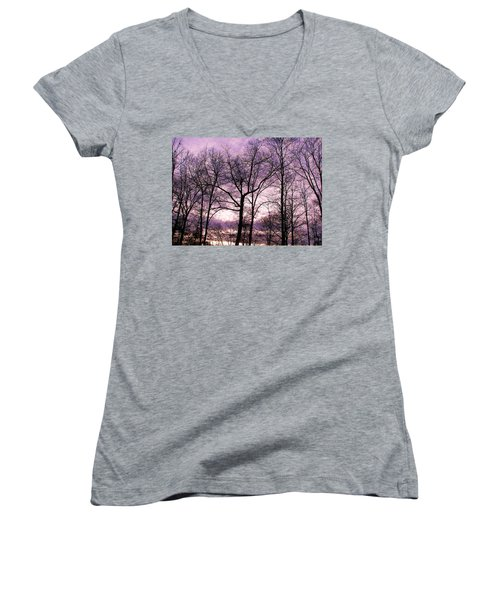 Women's V-Neck T-Shirt (Junior Cut) featuring the photograph Trees In Glorious Calm by Pamela Hyde Wilson