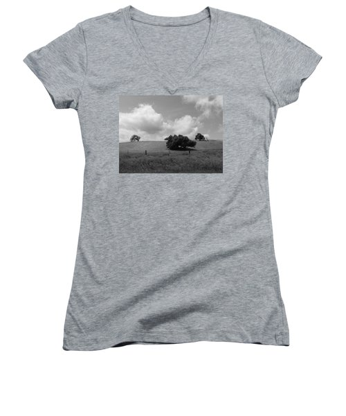 Women's V-Neck T-Shirt (Junior Cut) featuring the photograph Trees On The Hillrise by Kathleen Grace