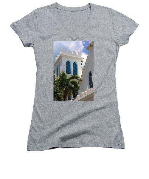 Women's V-Neck T-Shirt (Junior Cut) featuring the photograph Trinity Presbyterian Church Tower by Ed Gleichman