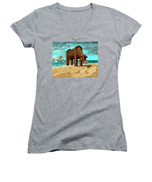 Trojan Cow Women's V-Neck T-Shirt (Junior Cut) by Russell Kightley