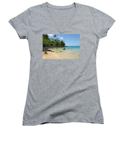 Women's V-Neck T-Shirt (Junior Cut) featuring the photograph Tropical Paradise by Lynn Bauer