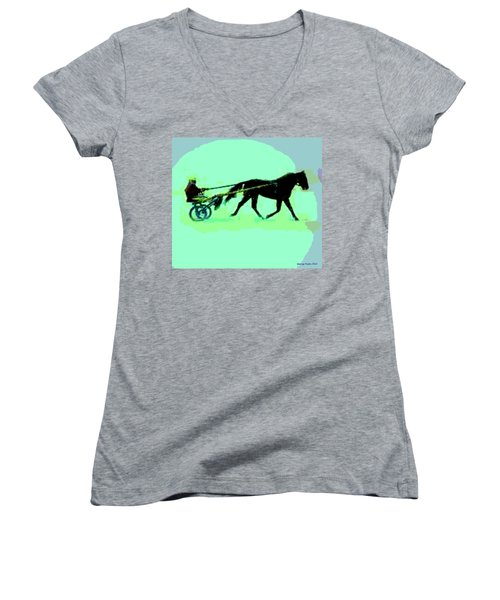 Women's V-Neck T-Shirt (Junior Cut) featuring the photograph Trotter by George Pedro