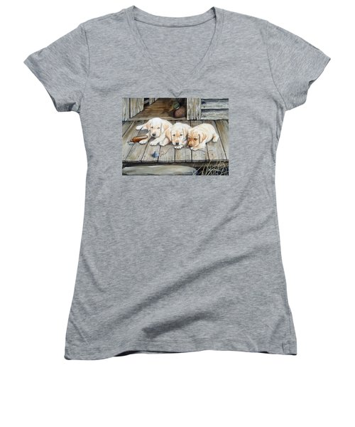 Tuckered Out Trio  Sold  Prints Available Women's V-Neck T-Shirt