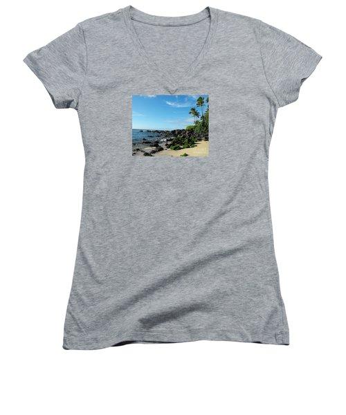 Turtle Beach Oahu Hawaii Women's V-Neck T-Shirt (Junior Cut) by Rebecca Margraf