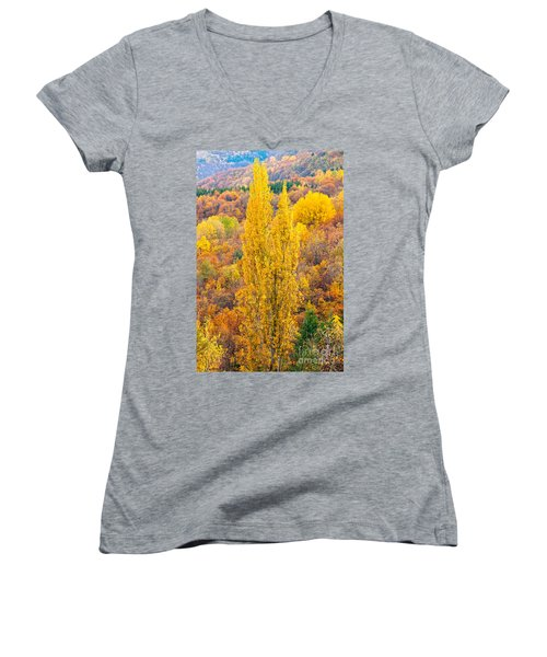 Women's V-Neck T-Shirt (Junior Cut) featuring the photograph Tuscany Landscape  by Luciano Mortula