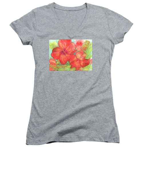Women's V-Neck T-Shirt (Junior Cut) featuring the painting Two Hibiscus Blossoms by Carla Parris
