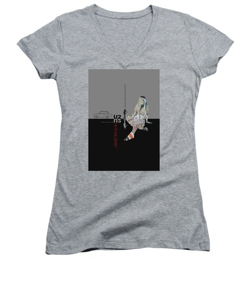 U2 Poster Women's V-Neck T-Shirt (Junior Cut) by Naxart Studio