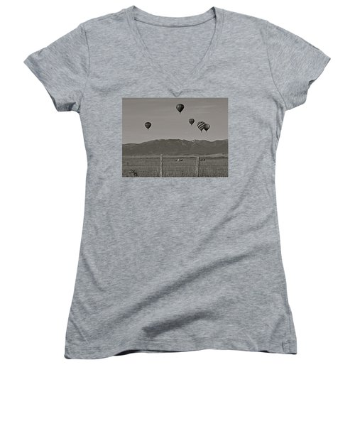 Women's V-Neck T-Shirt (Junior Cut) featuring the photograph Unconcerned Lamas by Eric Tressler