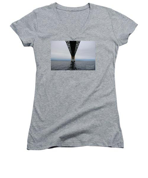 Under The Mackinac Bridge Women's V-Neck T-Shirt