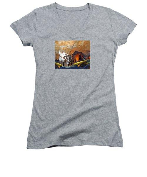 Underground Swim Women's V-Neck T-Shirt (Junior Cut) by Lynda Lehmann