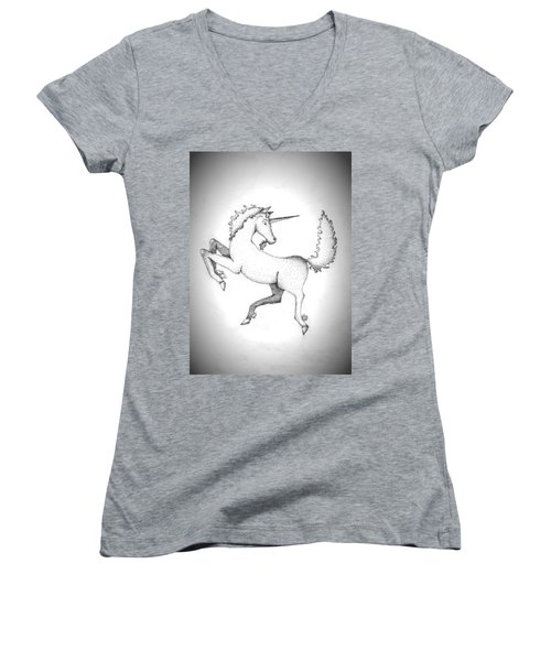 Unicorn Women's V-Neck (Athletic Fit)