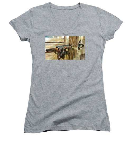 Women's V-Neck featuring the painting Unlatched by Andrew King