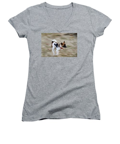 Women's V-Neck T-Shirt (Junior Cut) featuring the photograph Unleashed by Fotosas Photography