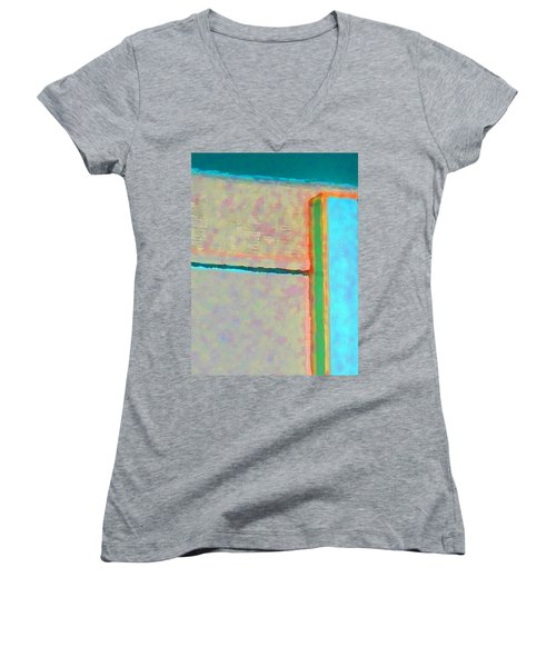 Women's V-Neck T-Shirt (Junior Cut) featuring the digital art Up And Over by Richard Laeton