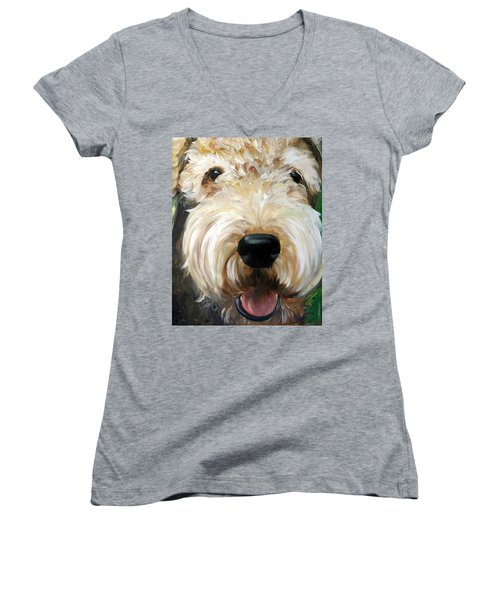 Up Close  Women's V-Neck T-Shirt (Junior Cut) by Mary Sparrow