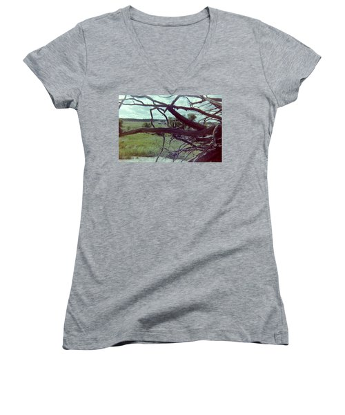 Women's V-Neck T-Shirt (Junior Cut) featuring the photograph Uprooted by Bonfire Photography