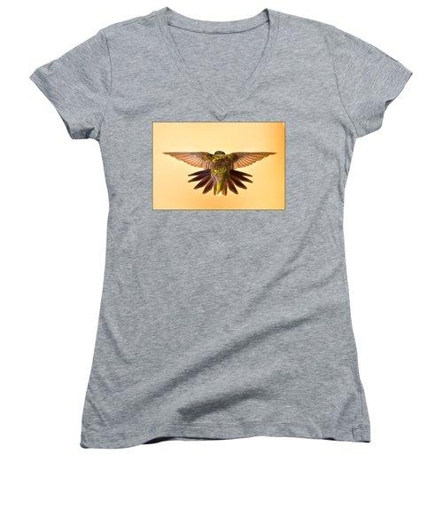 Women's V-Neck T-Shirt (Junior Cut) featuring the photograph Usaf Hummingbirds Wings by Randall Branham