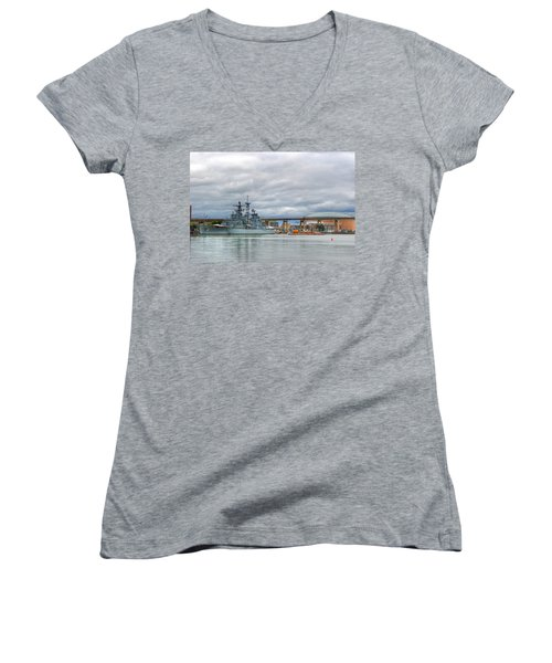 Women's V-Neck T-Shirt (Junior Cut) featuring the photograph Uss Little Rock by Michael Frank Jr