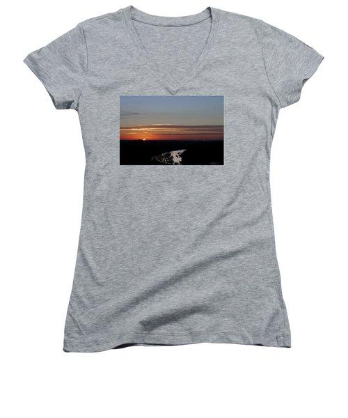 Women's V-Neck T-Shirt (Junior Cut) featuring the photograph Vanishing Sunset by Maj Seda