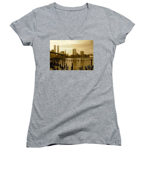 View From Brooklyn Bridge Park Women's V-Neck T-Shirt (Junior Cut) by Mark Gilman