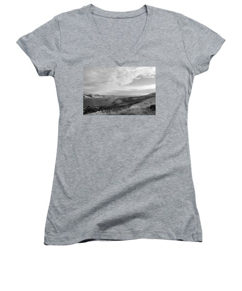 Women's V-Neck T-Shirt (Junior Cut) featuring the photograph View From The Hill Columbia River by Kathleen Grace