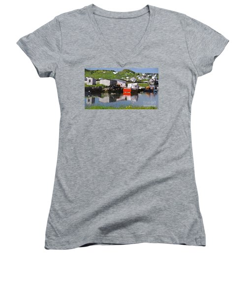 Women's V-Neck T-Shirt (Junior Cut) featuring the photograph Villiage by Lydia Holly