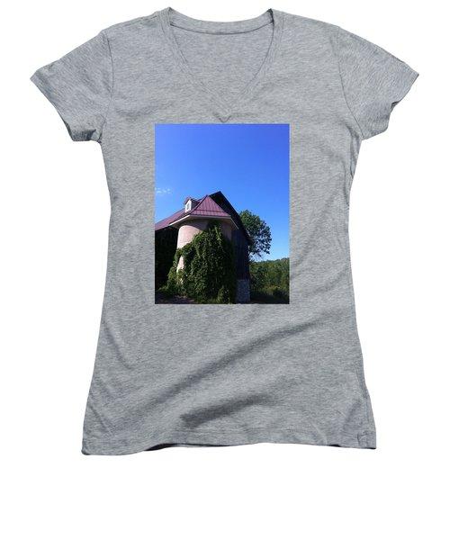 Women's V-Neck T-Shirt (Junior Cut) featuring the photograph Vineyard by Tiffany Erdman