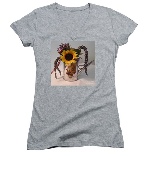 Women's V-Neck T-Shirt (Junior Cut) featuring the photograph Virgin Olive Oil by Sandy McIntire