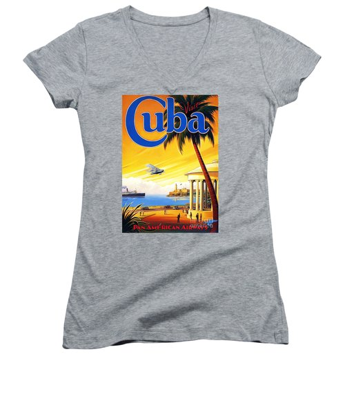 Visit Cuba Women's V-Neck T-Shirt (Junior Cut) by Reproduction