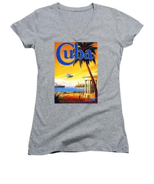 Visit Cuba Women's V-Neck T-Shirt