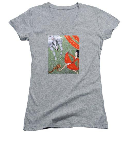 Viva Dona Carmen Women's V-Neck T-Shirt (Junior Cut) by Marie Schwarzer