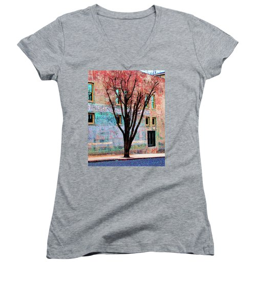Women's V-Neck T-Shirt (Junior Cut) featuring the photograph Wall Wth Secrets by Lizi Beard-Ward