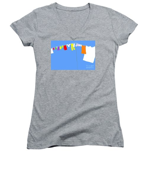 Women's V-Neck T-Shirt (Junior Cut) featuring the digital art Washing Line Simplified Edition by Barbara Moignard