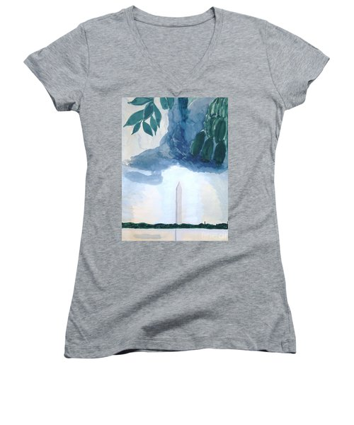 Women's V-Neck T-Shirt featuring the painting Washington Monument by Rod Ismay