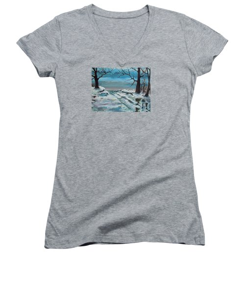 Washoe Winter Women's V-Neck T-Shirt (Junior Cut) by Dan Whittemore
