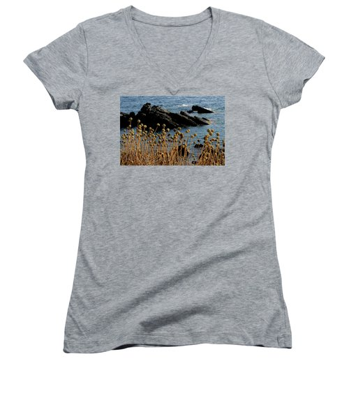 Women's V-Neck T-Shirt (Junior Cut) featuring the photograph Watching The Sea 1 by Pedro Cardona